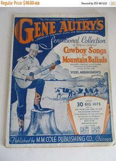 Year end Clearance 1932 Gene Autry Country by ReVintageLannie