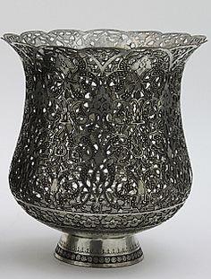 Antique  Persian Pierced Metal Vase