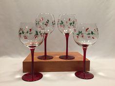 Pfaltzgraff Winterberry Set of 4 Wine Goblets Glasses Red Stems 16 Oz.  #Pfaltzgraff