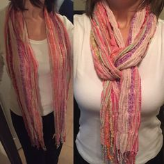 Multicolor Scarf Bought at Dillard's. I love this with jeans. Colors include pink, purple, yellow, green and more. Accessories Scarves & Wraps