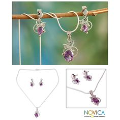 Sterling Silver 'Wisteria' Amethyst Jewelry Set (India)