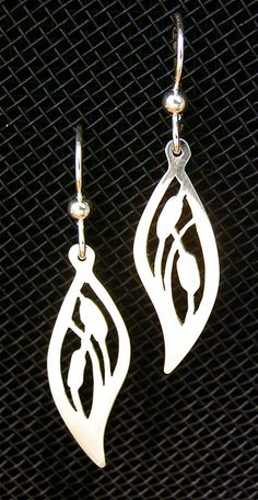 Sterling Silver Cattail Earrings by JewelrybyRC on Etsy, $25.00