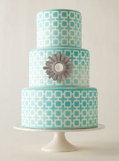 Aqua Wedding Cake with Silver Accent