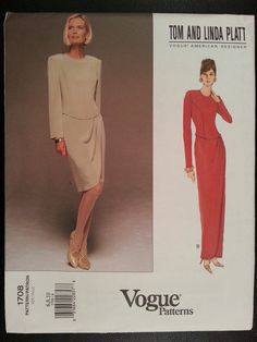 Vogue Designer 1708 Misses Dress Evening Length or Mid-Knee sewing pattern sizes 6-8-10 brand new Tom and Linda Platt
