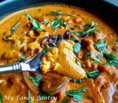 Spicy Vegetarian Cauliflower Curry. It is a great recipe! Double the curry base recipe, because it will go fast!