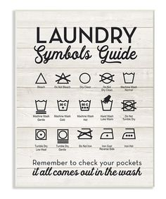 Laundry Symbols Guide Wall Art