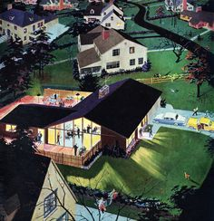 Party in Suburbia - detail from 1957 Calvert Reserve whiskey ad.  Have a great weekend my friends!