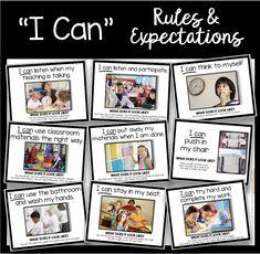 Classroom Rules and Expectations - I Can Slideshow - Back to School Mini Book Classroom Behavior, First Grade Classroom, Classroom Rules, Classroom Organization, Classroom Management, Behavior Management, Classroom Decor, Preschool Class Rules, Kindergarten Classroom