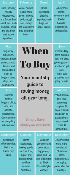 When To Buy: A Monthly Guide - Finance tips, saving money, budgeting planner Ways To Save Money, Money Tips, Money Saving Tips, How To Make Money, Money Savers, Hide Money, Money Budget, Money Hacks, Zelt Camping