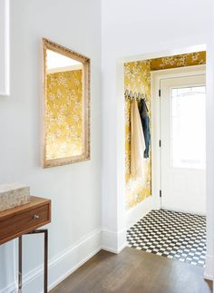 Eclectic Entry by Meghan Carter Design Inc--wallpaper in the vestibule, neutral paint offsetting it in the hall. Small Entryways, Interior, Home, Entry Foyer, Hall Decor, Foyer Wallpaper, Entryway Decor Small, House Interior, Wallpapered Entryway
