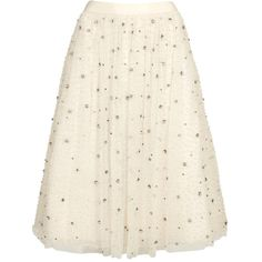 Womens Pleated Skirts Alice + Olivia Catrina Ivory Embellished Tulle... (16,850 MXN) ❤ liked on Polyvore featuring skirts, ruched midi skirt, white knee length skirt, tulle skirt, ivory skirt and midi skirt