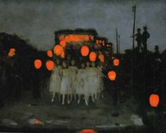 Thomas Cooper Gotch . The Lantern Parade. 1918