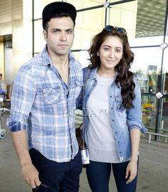 Rithvik Dhanjani and Asha Negi at the Mumbai airport. #Bollywood #Fashion #Style #Beauty #Hot