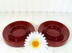 Matching Set of 2 Burgundy Red Ceramic Ashtrays  by DivineOrders, $13.00