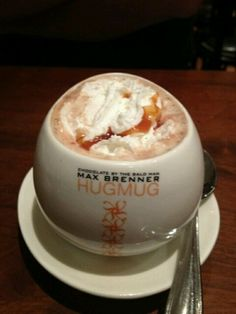 Hot Chocolate w/Sea Salt and Caramel. From Max Brenner's Chocolate Creations in Vegas (Forum Shops). Salted Caramel Chocolate, Hot Chocolate, Max Brenner, Sea Salt, Vegas, Shops, Pudding, Favorite Recipes, Drink