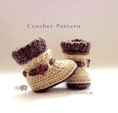 Crochet Pattern Woodland Woolies Baby Booties l via One Paisley Pig Crochet Baby Shoes, Crochet Baby Booties, Cute Crochet, Baby Patterns, Knitting Patterns, Crochet Patterns, Baby Boots, Yarn Crafts, Baby Knitting