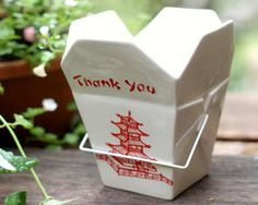 Ceramic Chinese Take-Out Box #decorations
