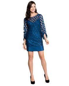 Laundry by Shelli Segal Nite Sky Dot Mesh 3/4 Sleeve Dress  #taralynnmcnitt