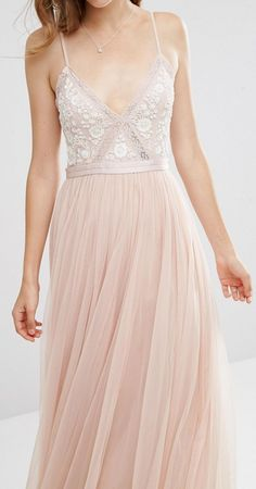 needle and thread tulle skirt asos, Needle & Thread Embroidery Motif Maxi Dress Blush/ecru Women Dresses, needle and thread aura chiffon and satin maxi dress Shop Grad Dresses, Prom Party Dresses, Bridesmaid Dresses, Formal Dresses, Bridesmaid Ideas, Bridesmaids, Floral Maxi Dress, Dress Up, Pretty Dresses