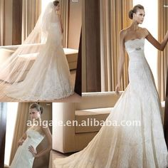 Strapless A-line Cathedral train Lace Vintage Wedding Gown