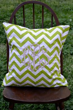 Custom Monogrammed Lime Green & White Chevron by lilandgaines...