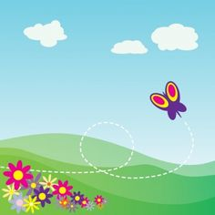 Cartoon Hillside With Butterfly And Flowers clip art