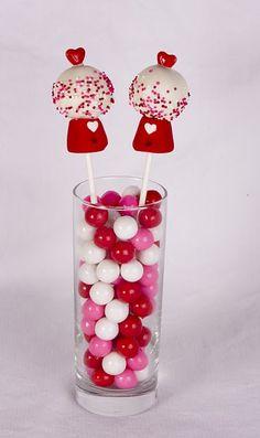 Splendidly fun (Valentine's Day perfect) Gumball Machine Cake Pops. #food #cake #pops #dessert #Valentines