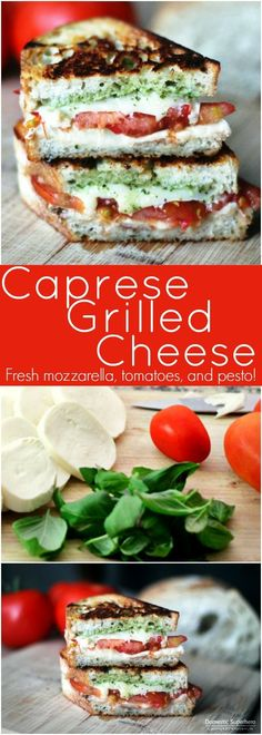 Caprese Grilled Cheese is stuffed with fresh tomatoes, mozzarella cheese & fresh pesto! Grilled to perfection & served pipping hot; the BEST fresh lunch! If you want to make some good comfort food click the picture to see an amazing cookbook. Grilled Sandwich, Soup And Sandwich, Steak Sandwiches, Grilled Cheese Sandwiches, Caprese Sandwich Recipe, Caprese Panini, Lunch Sandwiches, Pesto Sandwich, Sandwich Bar