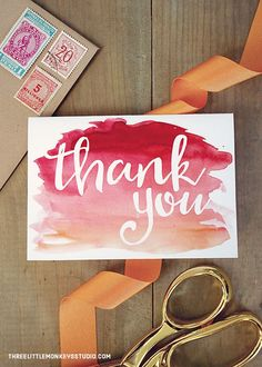 Free Watercolor Thank You Cards from http://threelittlemonkeysstudio.com