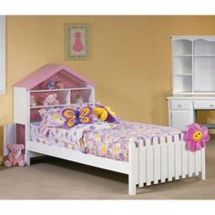 Twin Size Bed W Dollhouse Headboard Picket Fence Footboard Color Box Diy Make Your Own Pinterest Fences Twins And Kids Rooms