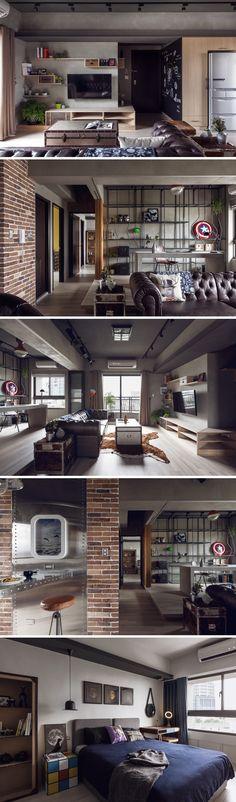 A House Design Studio projetou o apartamento para um engenheiro de 30 anos, cuja principal demanda era que o cimento queimado fosse predominante na decoração. Localizado em Kaohsiung, Taiwan,o ambiente possui 92m² de estilo industrial, trabalhando materiais como o cimento, madeira, canos, metais e tijolos. Veja Mais em: http://www.limaonagua.com.br/decoracao/apartamento-masculino-com-decoracao-estilo-industrial/#ixzz3vkno6ZYv