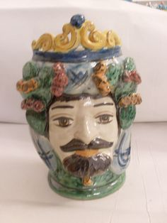 vaso ceramica di Caltagirone, ceramic vase of Caltagirone, vase to face shape of a man, painted and produced manually handicraft in Italy di 23bestFORyou su Etsy