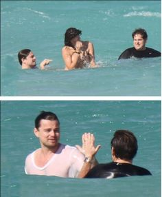 Jonah Hill and Leo high fiving after swimming with a naked girl