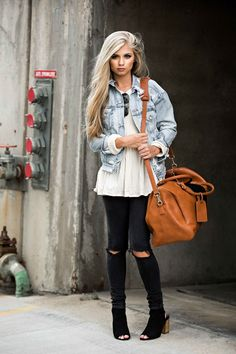 jessakae street style, weekender bag, distressed denim jacket, ray bans, street style, womens fashion, casual style