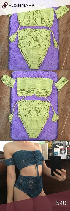 """XS Yellow Crochet Bikini Set Brand new with tag on original packaging. Crochet High Waist Bikini. Two-Piece Set. Tag says Small, but fits like a XS.  In pic 4, I am modeling size Small. I am am 5'2"""", 105lbs and usually wear XS.   Tags: high-Waist, high waisted, high-waisted, Victoria's Secret, festival, rave, ravewear, swim, swimsuit, swimwear, bathing suit, two piece, Coachella, edc, brandy Melville, nastygal, dollskill, American apparel, andibagus, andi bagus, urban outfitters…"""