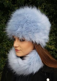 Ice Blue Faux Fur Hat with Cosy Polar Fleece Lining  21fb2f8aa5bd