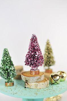 Glitter Bottle Brush Trees - DIY Decorations