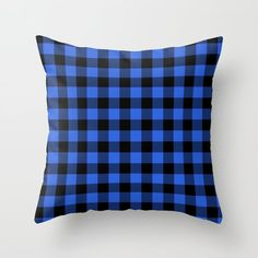 Royal Blue And Black Lumberjack Buffalo Plaid Fabric Couch Throw Pillow by Podartist - Cover x with pillow insert - Indoor Pillow Throw Cushions, Couch Pillows, Designer Throw Pillows, Down Pillows, Buffalo Check Christmas Decor, Buffalo Plaid Fabric, Plaid Nursery, Buffalo Check Pillows, Fluffy Pillows