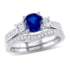 6.0mm Lab-Created Blue and White Sapphire with 1/8 CT. T.W. Diamond Three Stone Bridal Set in 10K White Gold - Save on Select Styles - Zales