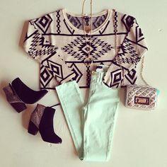 aztec tribal sweater, mint jeans, black booties, little purse