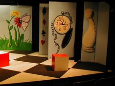 alice in wonderland set design ideas   Side pannels and left side of backdrop were painted by Soraina.