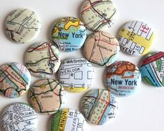 NYC Maps 1 inch Magnet Set, 12 pack - Dozen (3 Packs of 4)