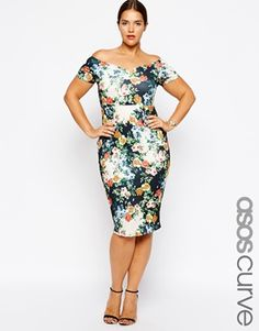 Enlarge ASOS CURVE Exclusive Body-Conscious Dress In Print With Cross Back