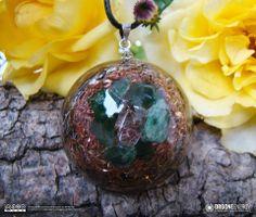 Orgone-Energy Pandantiv Emisferic cu Aventurin Verde