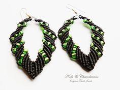 Green Leaf - orecchini a macramè - micromacramè earrings