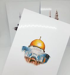 Set of 3 Islamic Landmark Prints (The Holy Kabah – Masjid an Nabawiy – The Dome of the Rock) Available with frame - ART Watercolor Painting Arabic Calligraphy Art, Arabic Art, Calligraphy Alphabet, Islamic Art Pattern, Pattern Art, Palestine Art, Dome Of The Rock, Islamic Paintings, Islamic Wall Art