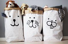 Paper bag。ins Big Storage Bag Little Babies, Baby Kids, Modern Room Decor, Baby Bump Style, Let The Fun Begin, Bear Face, Kidsroom, Diy Storage, Kids Decor