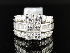 14K White Gold Princess Cut Diamond Engagement Bridal Anniversary Ring 4.0 Ct #SolitairewithAccents