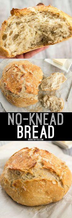 Easy No-Knead Bread Recipe - Step by Step Photos - Budget Bytes Side Dish Recipes, Bread Recipes, Vegan Recipes, Cooking Recipes, Delicious Recipes, Side Dishes, Vegan Foods, Cooking Tips, Knead Bread Recipe
