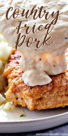 Fried Pork for dinner tonight! Country Fried Pork for dinner tonight! Country Fried Pork Chops - These crispy Country Fried Pork are a smothered in a smooth homemade gravy which means there won't be much conversation at the dinner table! Pork Chops And Gravy, Juicy Pork Chops, Baked Pork Chops, Fried Boneless Pork Chops, Country Fried Pork Chops, Spareribs, Easy Pork Chop Recipes, Chops Recipe, Pork Dishes